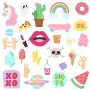 Fashion patch badges vector set. Stock Illustration