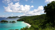 Aerial video of Trunk Bay, St John Stock Footage