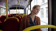 Woman in bus Stock Footage
