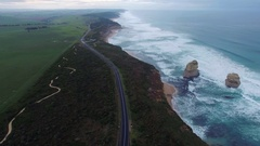 Forward flight above Great Ocean Road towards Gog and Magog rocks Stock Footage