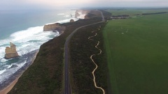 Forward flight above Great Ocean Road towards main Apostles Cluster Stock Footage