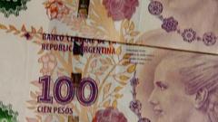 Argentinian Peso Bills  Financial, cash money 04 Stock Footage