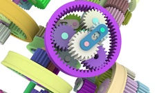 Colorful gear that rotates to rotate engaged. Full HD 3d render Stock Footage
