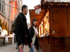Panning over Christmas market Mulhouse Cathedral Stock Footage