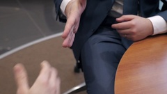 Business partnership meeting. businessmans handshake. Successful businessmen Stock Footage