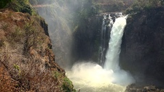 Victoria Falls (filmed from Zimbabwe) as 4K footage Stock Footage