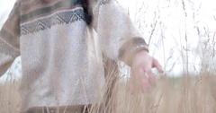 Woman in cornfield in fall Stock Footage