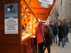 Panning over Christmas market  Cathedral with Police security advice after Paris Stock Footage