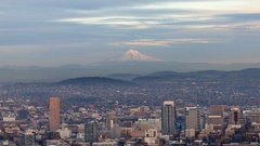 Time lapse of clouds over alpenglow on Mt. Hood in Portland OR at sunset 4k uhd Stock Footage