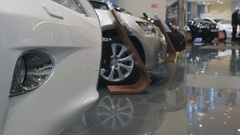 New japan cars at dealer showroom Stock Footage