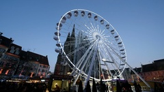 Magic view of Ferris wheel during Christmas Market Stock Footage