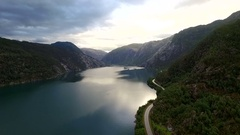 Beautiful view. Landscape. Norway, aerial survey.  Sea, mountains. Stock Footage