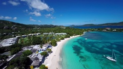 Aerial video of Sapphire beach, St.Thomas Stock Footage