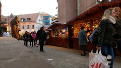 Slow motion Christmas market Mulhouse Cathedral France Alsace Stock Footage