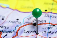 Lovech pinned on a map of Bulgaria Stock Photos