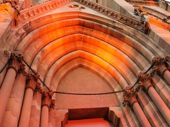 Panning to Mulhouse Cathedral France Alsace Stock Footage