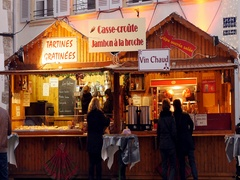 Buying food snacks at Christmas market in France Stock Footage