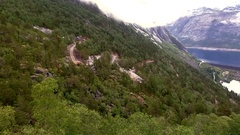 Fjord, mountain landscape. Norway Stock Footage