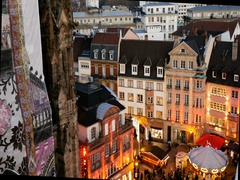 Aerial of Christmas Market in France Stock Footage