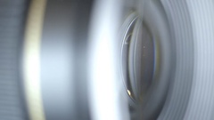 Extreme close up of Lens passing smoothly Stock Footage