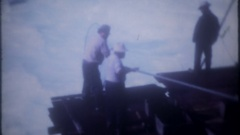 Indians netting salmon at Celilo Falls, Columbia River, 3786 vintage home movie Stock Footage