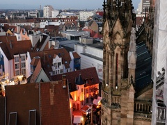Aerial of France city during Christmas Market Stock Footage