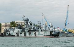 Missile hovercraft Samum 616. Sevastopol naval base of the Black Sea Fleet Stock Photos