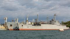 Maritime transport of weapons General Ryabikov in the Bay Black Sea Stock Photos
