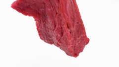 Fresh and juicy raw beef meat  move in a circle on a central axis 360 degree Stock Footage