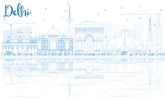 Outline Delhi Skyline with Blue Buildings and Reflections Stock Illustration