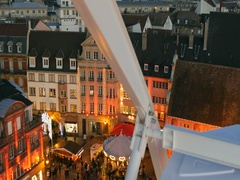 Magic view from a Ferris wheel during Christmas Market Stock Footage