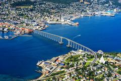 Tromso bridge from high altitude mountain background Stock Photos