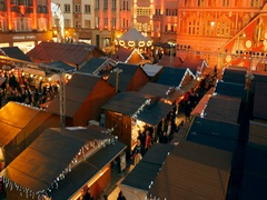 Magic view aerial drone footage during Christmas Market Stock Footage