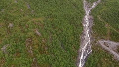 Forest, Mountain river and waterfall. View from above Stock Footage