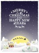 Christmas vintage greeting card on winter landscape Piirros