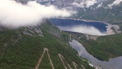 Norway, Аerial survey. Landscape. Sea.  Mountains Stock Footage