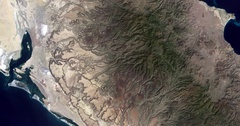 High-altitude overflight aerial of the Baja peninsula. Stock Footage
