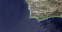 High-altitude overflight aerial of San Luis/Santa Barbara counties, CA. Stock Footage