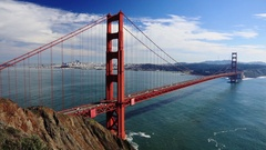 Golden Gate Bridge Traffic and San Francisco Bay Stock Footage
