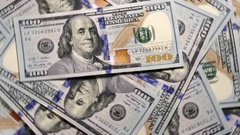 Dollars Banknotes Left Rotate. Stock Footage