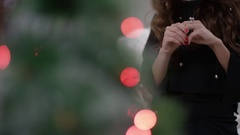 Woman receiving a ring for christmas Stock Footage