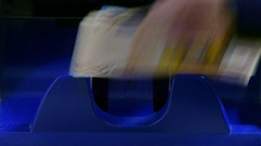 Euro banknotes counted by a Currency counting machine Stock Footage
