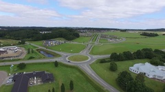 Aerial of Small Town Ry Denmark Stock Footage