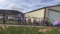 Bicycles lined up in school bike rack HD Stock Footage