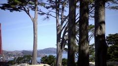 Panning across Golden Gate Bridge and Strait in San Francisco California Stock Footage