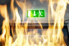 Emergency Evacuation Sign Stock Photos