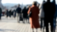 People walking on Sopot pier, sunny day Stock Footage