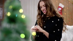 Young woman receiving a ring for christmas Stock Footage