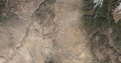 High-altitude overflight aerial of Sandoval, Santa Fe, San Miguel counties, NM Stock Footage