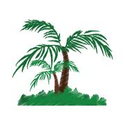 Tree palm tropical isolated icon Stock Illustration
